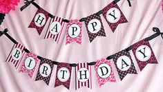 pink and black birthday printables free   pink-black-white-banner