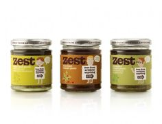 """Zest is an all-natural range of pasta sauces and pestos with nothing to hide.    The packaging range features naive 1950′s style illustrations of male and female naturist characters each proclaiming the 'free from artificial anything' message, whilst preserving their modesty with a key ingredient."