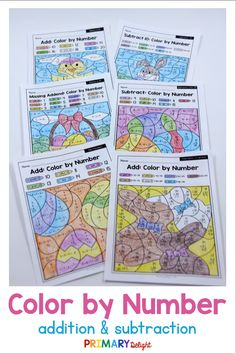 Easter color by number math worksheets are a fun way for kids to practice addition and subtraction in first grade. Use these printable pages for morning work for students or for early finishers in the classroom or homeschool setting. Easter color by number sheets include an Easter basket, Easter eggs, and lots of Easter candy - perfect for this spring holiday! Kids practice addition to 20 (including missing addends), and subtraction within 20. #EasterMath