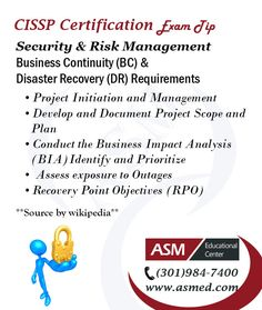 CISSP Certification Traning / Exam Tip.CISSP Security & Risk Management-Disaster Recovery (DR).For more information to Become certified for CISSP  Please  Visit : http://www.asmed.com/cissp-isc2/