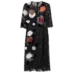 Dolce & Gabbana Embellished macramé-lace dress (3,630 CAD) ❤ liked on Polyvore featuring dresses, black, dolce gabbana dresses, black lace dress, lace applique dress, floral embroidered dress and floral dress