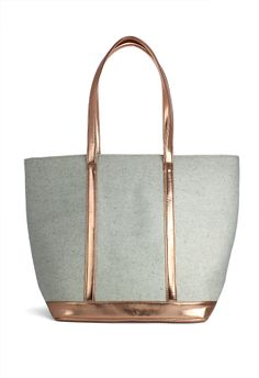 #Chicwish  Metallic Trim Felt Tote Shoulder Bag in Beige - Goods - Retro, Indie and Unique Fashion