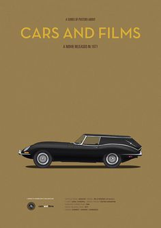 Autos und Filme # 7 on Behance - Harold & Maude - Cars of Films - Classic Motors, Classic Cars, Movie Poster Art, Poster Series, Car Illustration, Jaguar E Type, Car Posters, Movie Releases, Automotive Art