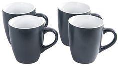 Set of 4 Large Mugs In Grey Cream & Taupe Dishwasher & Microwave Safe #Koop