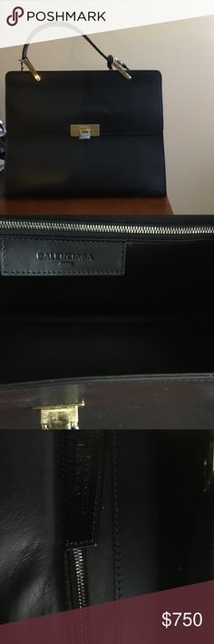 Balenciaga Le Dix Black authentic Balenciaga Le Dix. In great condition, worn minimal. Has light scratches that are unnoticeable because of the sift leather. Dust bag has a small stain (crayon/ marker from my LO) I have not washed simply because I am not sure if the dust bag will shrink. Comes with strap, tags, feet still have plastic in them as well as mirror. OPEN TO OFFERS Balenciaga Bags Totes