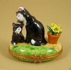 NEW FRENCH LIMOGES BOX BLACK & WHITE KITTY CAT W CUTE KITTEN & POTTED FLOWER   ebay.com