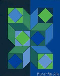 Victor Vasarely - Ohne Titel XLIII (Dunkelblau)