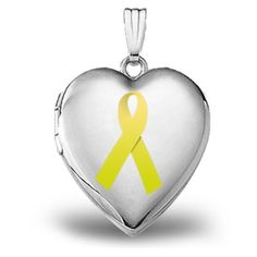 "14K White Gold ""Childhood Cancer Awareness"" Heart Locket"