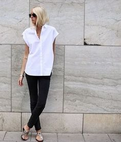 white shirt chic. #EllenClaesson in Stockholm.