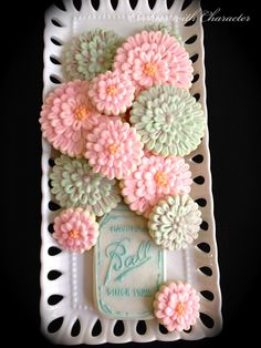 Cookies with Character:Mason Jar and flower cookies