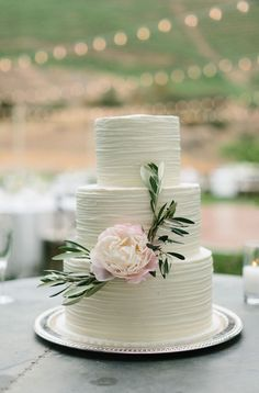 Wedding Cake with Peony - 011. Callista & Company - Geoff Captain Studios - Cake: The Butter End Cakery - Florals: Lilla Bello