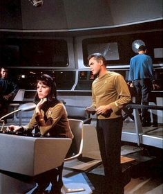 """Number One (Majel Barret) and Captain Christopher Pike (Jeffrey Hunter) - Star Trek S00E00: """"The Cage"""" (First screened to NBC in February, 1965 - Restored TV premiere, October 14, 1986)"""