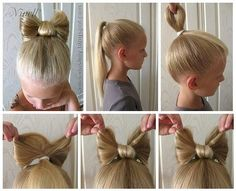 Cute Bow Hairstyle For Little Girls 😍😍 - - Disney Hairstyles, Cute Hairstyles For Kids, Baby Girl Hairstyles, Updos For Kids, Wacky Hair Days, Crazy Hair Days, Crazy Hair For Kids, Whoville Hair, Girl Hair Dos