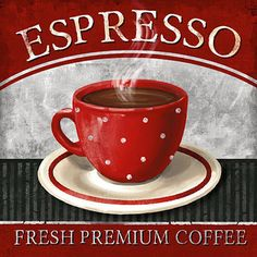 Conrad Knutsen: Espresso Keilrahmen-Bild Leinwand Cafe Küche Vintage Deko