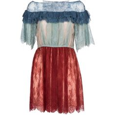 Lace Dress By Philosophy (€615) ❤ liked on Polyvore featuring dresses, mix blue, red dress, lacy red dress, red lace dress, lace dress and lacy dress
