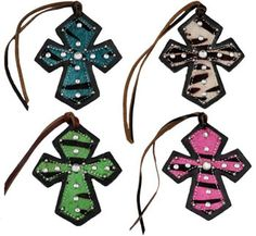Saddles Tack Horse Supplies - ChickSaddlery.com Leather Tie-On Cross with Hair On Zebra Print <>