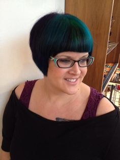 Short Haircut with Blunt Bangs and Pravana Vivids Blue and Green Color Combo. Hair By Tiffany Shuck