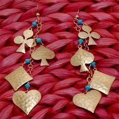 Poker Face Earrings by Hermosa Jewelry www.hermosajewelry.com www.etsy.com/shop/hermosajewelry