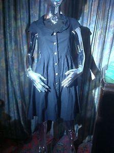 Preppy Black Cotton Button Front Dress Size 10 | eBay
