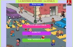 La rentrée scolaire - great oral comprehension on this site! Other topics, too. French Teaching Resources, English Activities, Teaching French, French Websites, French Songs, First Day Of School Activities, Core French, Secondary Teacher, French Classroom