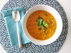 I'm not a Vegan, but I very well could become one if all Vegan food had as much flavor as this Coconut Curry Lentil Soup - Vegan and Gluten-Free. Simple, hearty, delicious, and healthy! Coconut Lentil Soup, Curried Lentil Soup, Vegan Lentil Soup, Lentil Soup Recipes, Coconut Milk Curry, Lentil Curry, Veggie Recipes, Healthy Recipes, Curry Soup