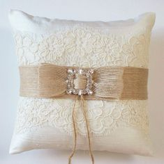 Wedding Ring Pillow in Silk with Alencon Lace, Burlap Ribbon and Rhinestone Detail - The MEGAN Pillow on Etsy Wedding Ring Cushion, Wedding Pillows, Cushion Ring, Ring Bearer Pillows, Ring Pillows, Burlap Lace, Burlap Ribbon, Rings For Girls, Cute Rings