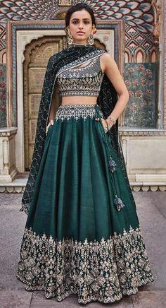 Designer green lehenga choli for women party wear Bollywood lengha sari,Indian wedding wear embroidered lehenga with dupatta Green Lehenga, Indian Lehenga, Green Sari, Ghagra Choli, Bridal Lehenga Choli, Silk Lehenga, Bollywood Lehenga, Party Wear Lehenga, Bollywood Fashion