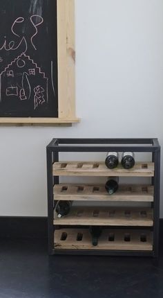 Modern Home Furniture, Steel Furniture, Industrial Furniture, Furniture Design, Wine Shelves, Wine Storage, Wine Stand, Coffee Table Plans, Rack Design