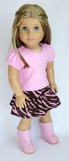 Trendy American Girl Doll Clothes - Silly Monkey - Pink Top and Pink/Brown Zebra Skirt, $15.99 (http://www.silly-monkey.com/products/pink-top-and-pink-brown-zebra-skirt.html)