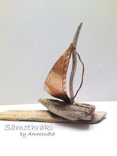 Samothraki  Driftwood Sailboat with sail from Copper by Ammoudia