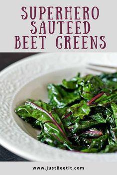 Superhero Sautéed Beet Greens — Just Beet It Top Recipes, Vegetable Recipes, Vegetarian Recipes, Cooking Recipes, Healthy Recipes, Vegan Beet Recipes, Cleaning Recipes, Recipies, Paleo
