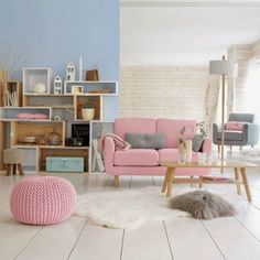 Rose quartz sofa. #design #colour #ambience trends, design trends, colors inspiration. See more at http://www.brabbu.com/en/inspiration-and-ideas/category/trends