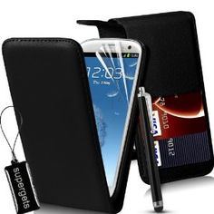 [£3.99] BLACK FLIP LEATHER CASE FOR SAMSUNG GALAXY S3 I9300 + SCREEN PROTECTOR + KEY CHAIN WIPER + STYLUS BY SUPERGETS [AMAZON]