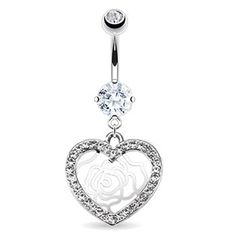 Belly ring with dangling jeweled heart and rose outline