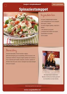 Spinazie stamppot Healthy Low Calorie Meals, Good Healthy Recipes, Skinny Recipes, Low Calorie Recipes, Healthy Food, Skinny Meals, Healthy Weight, Happy Foods, Light Recipes