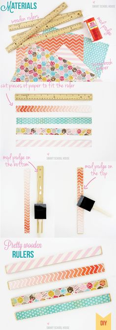 #DIY Pretty Wooden Rulers that take 20 minutes to make. Makes a great teacher gift!