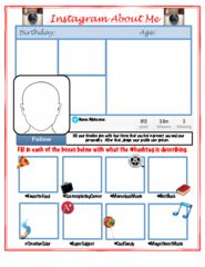 Facebook All About Me Back to School Activity  from MskcPotters Magical Shop on TeachersNotebook.com (1 page)