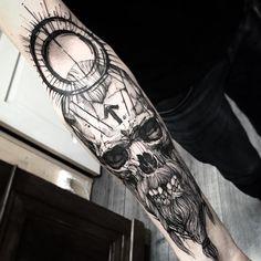 Skull arm tattoo design