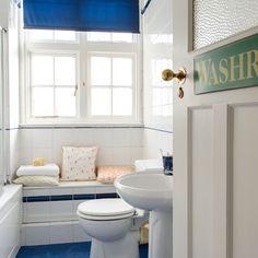 Blaue und weiße Küsten-Bad Wohnideen Badezimmer Living Ideas Bathroom