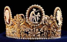 Empress Josephine's Cameo Tiara (Sweden) A gift from Napoleon to Empress Josephine of France, this bridal tiara consists of countless pearls and seven cameos that depict mythological figures.When Josephine's granddaughter Josephine of Leuchtenberg married King Oscar I of Sweden in 1823, she relocated to Stockholm and took the tiara with her. Queen Silvia has, on occasion, worn it to the Nobel Prize gala dinner. Crown Princess Victoria, wore the tiara at her wedding in 2010