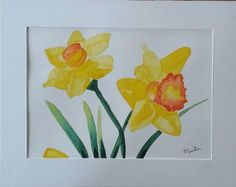 Daffodils Original Watercolour Painting by Vicky by MyCoveArt Daffodils, Watercolour Painting, Paintings, The Originals, Unique Jewelry, Handmade Gifts, Etsy, Vintage, Kid Craft Gifts
