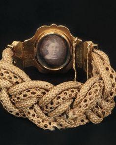 Hairwork mourning bracelet with photo locket