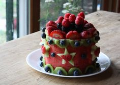 Cake made out of nothing but fruit. Fun different & amazing