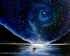 This is one of the new paintings in my night sky series: Beyond, 24″x 30″ acrylic on canvas, copyright© 2014 Kathryn Beals I like to havea personalsymbol in my landscapes to lend an …