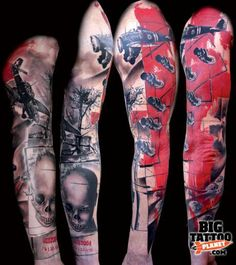Wicked Tattoos, Great Tattoos, Body Art Tattoos, Tattoos For Guys, Men Tattoos, Tattoo Trash, Trash Polka Tattoo, Buena Vista Tattoo, War Tattoo