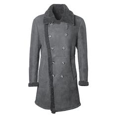 3874728e95e3 Mens Mid Long Faux Leather Lamb Wool Double Breasted Slits Design Suede  Jacket. Flint Weller · Winter Coat