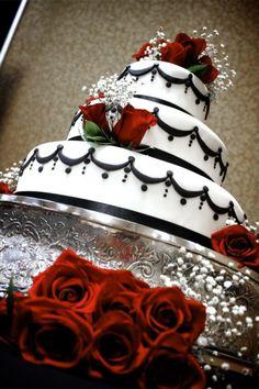 Wedding cake Black Red White