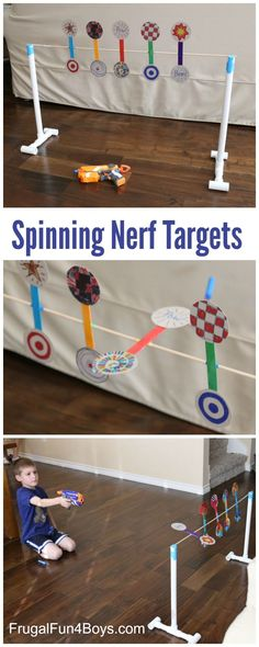 to Make a Nerf Spinning Target How to Make a Nerf Spinning Target - Fun game for a Nerf birthday party! Great boredom buster too.How to Make a Nerf Spinning Target - Fun game for a Nerf birthday party! Great boredom buster too. Diy For Kids, Cool Kids, Crafts For Kids, Kids Fun, Cereal Box Craft For Kids, Fun Games For Kids, Carnival Games Kids, Little Boy Games, Outside Games For Kids