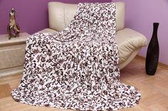 Krémovo hnedá deka s kvetinovým vzorom