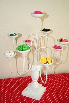 ring display / soap display ... If we found something like this at a thrift store we could turn it into a hat rack